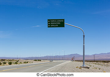 Directional road sign to Pampa El Leoncito on ruta 40,...