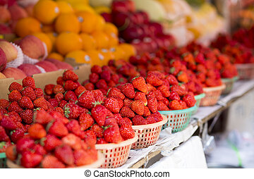 Baskets of fresh strawberries