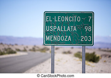 Route 40 old sign road to Mendoza in north of Argentina -...