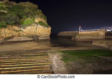 Old port of Biarritz in France at night