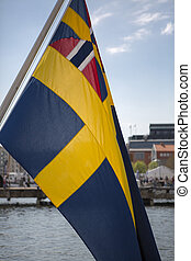 Detail of Swedish flag in the seaport of Goteborg in Sweden...