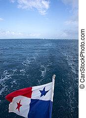 ondulación, horizonte,  Panamá, bandera, mar