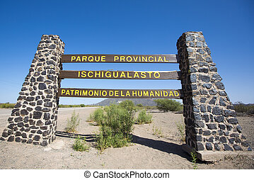 Sign road to Ischigualasto with blue sky, Argentina - Main...