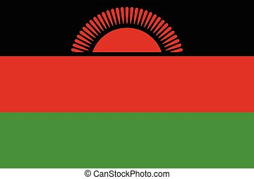 Official vector flag of Republic of Malawi .