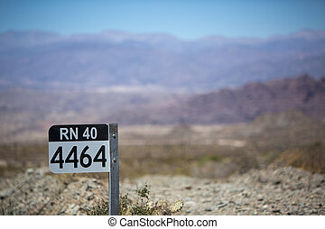 Route 40 sign road in north of Argentina - Distance Sign...