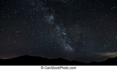 Stars moving in night sky over mountains time lapse. Milky...