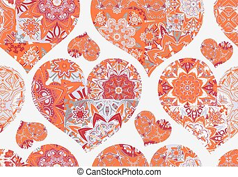 Seamless Valentine's Day pattern with orange gray patchwork hearts on white background