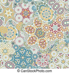 Seamless pattern based on traditional Asian elements Paisley. Colorful pastel blue yellow vinous illustration. Vector background.