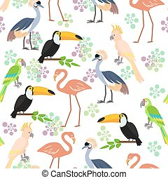 Tropical birds seamless pattern background. Vector...
