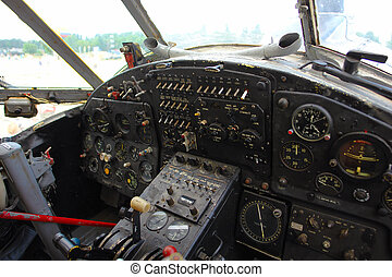 Inside the cockpit of the old plane