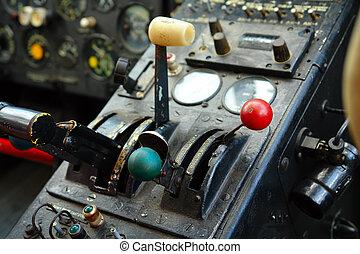 Cabina de piloto, dentro, avión, viejo