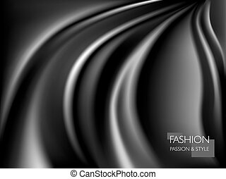 vector illustration of smooth elegant luxury black silk or satin texture. Can be used as background