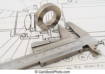Calipper and workpiece - Caliper and the workpiece on a...