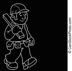 Cartoon Builder - Monochrome outline cartoon builder with...