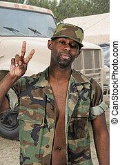 soldado, norteamericano, africano, negro, hombre