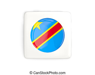 Square button with round flag of democratic republic of the...