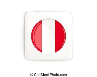Square button with round flag of peru isolated on white. 3D...