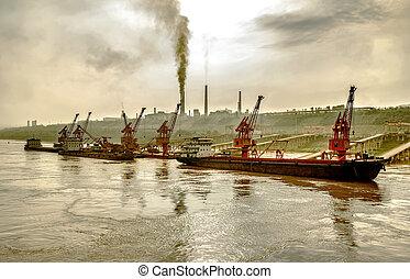 Riverside fabriek en dock - Fabrieken en de rivier kade...