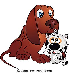 Friends vector - Cat and dog kitten and puppy - stylized...