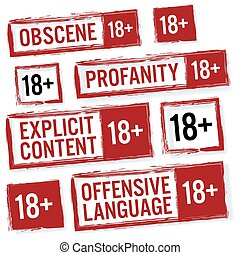 Set Of Red Rectangular Stamps Adults Only 18 . Grungy Icons...