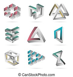 Impossible Shapes Set. Colorful Trendy Creative Figures With...