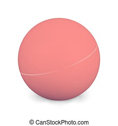 Ping Pong Ball Isolated On White Background. Photo Realistic 3d Red  With Shadow. Thing Of The Popular Game Table Tennis. Vector Illustration