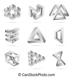 Impossible Shapes Set. Trendy Creative Figure With Optical...