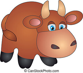 Cow vector - Brown Cow Vector Illustration on white...