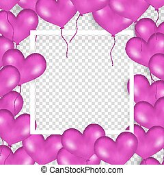 Frame With Purple Balloons In Form Of Heart. Transparent...