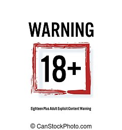 Warning 18 . Red Rectangle. Eighteen Stop Sign. Content For...