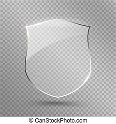 Transparent Shield. Safety Glass Badge Icon. Privacy Guard...