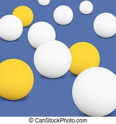 Ping Pong Balls. White And Yellow 3d Green Ball With Shadow On Blue Background. Thing Of The Popular Game Table Tennis. Vector Illustration