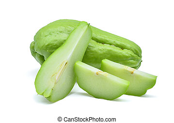 fresh chayote isolated on white background