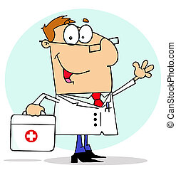 Doctor Carrying His First Aid Bag - Caucasian Cartoon Doctor...