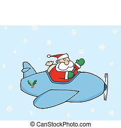 Santa Flying His Christmas Plane - Waving Pilot Santa Flying...