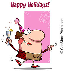 Happy Holiday Dance Lady - Happy Holidays Greeting Of A...