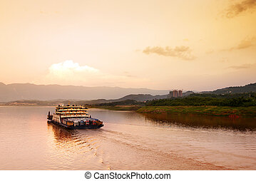 China and the Yangtze River cargo ship - The early morning...