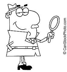 Outlined Male Detective With A Magnifying Glass In Hand