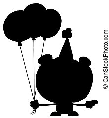 Silhouette Of A Birthday Bear - Cartoon Silhouette Happy...