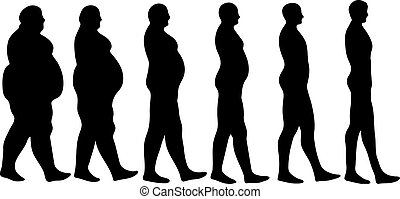 losing weight steps - steps of losing weight men on white...