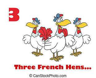 Red Number Three And Text By Three French Hen Chickens