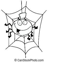 Outlined Spider in Web - Cartoon Character Happy Outlined...