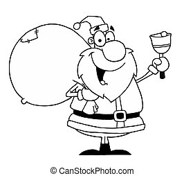 Outlined Santa With Bell
