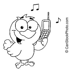 Outlined Chatty Bird  - Black And White Bird With Cell Phone