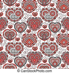 Vector background with  beautiful  hearts. Seamless pattern with ornate floral lace hearts. Red gray illustration. Valentine day lacy backdrop.