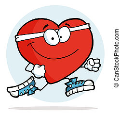 Jogging Heart - Healthy Red Heart Jogging Past