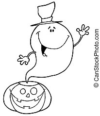 Outlined Ghost Over Pumpkin
