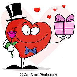 Gentleman Heart Holding A Gift