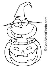 Outlined Frog in Pumpkin - Outlined Mascot Cartoon Character...