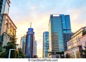 Cityscape of Chengdu, China - Modern city skyscrapers, the...